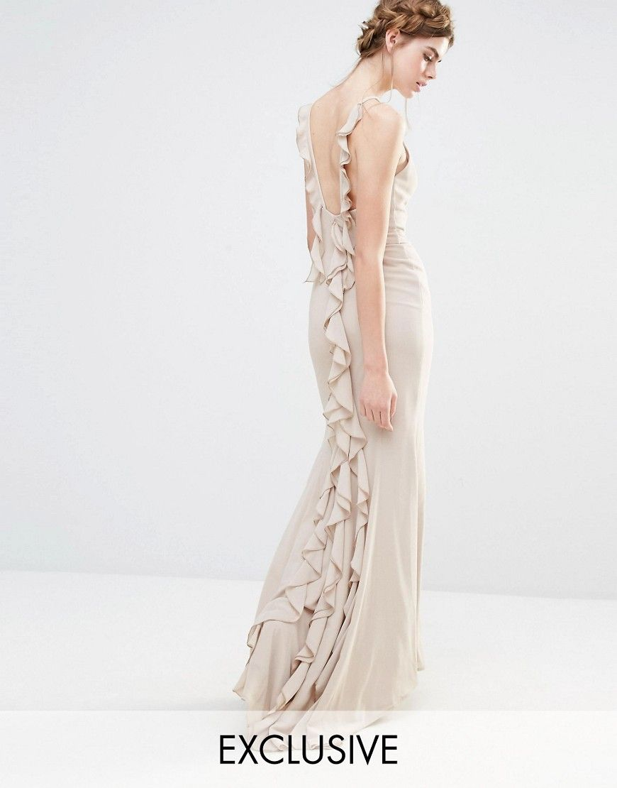 Fishtail wedding dress  Jarlo Wedding Maxi Dress with Fishtail and Ruffles at Back  Gray is