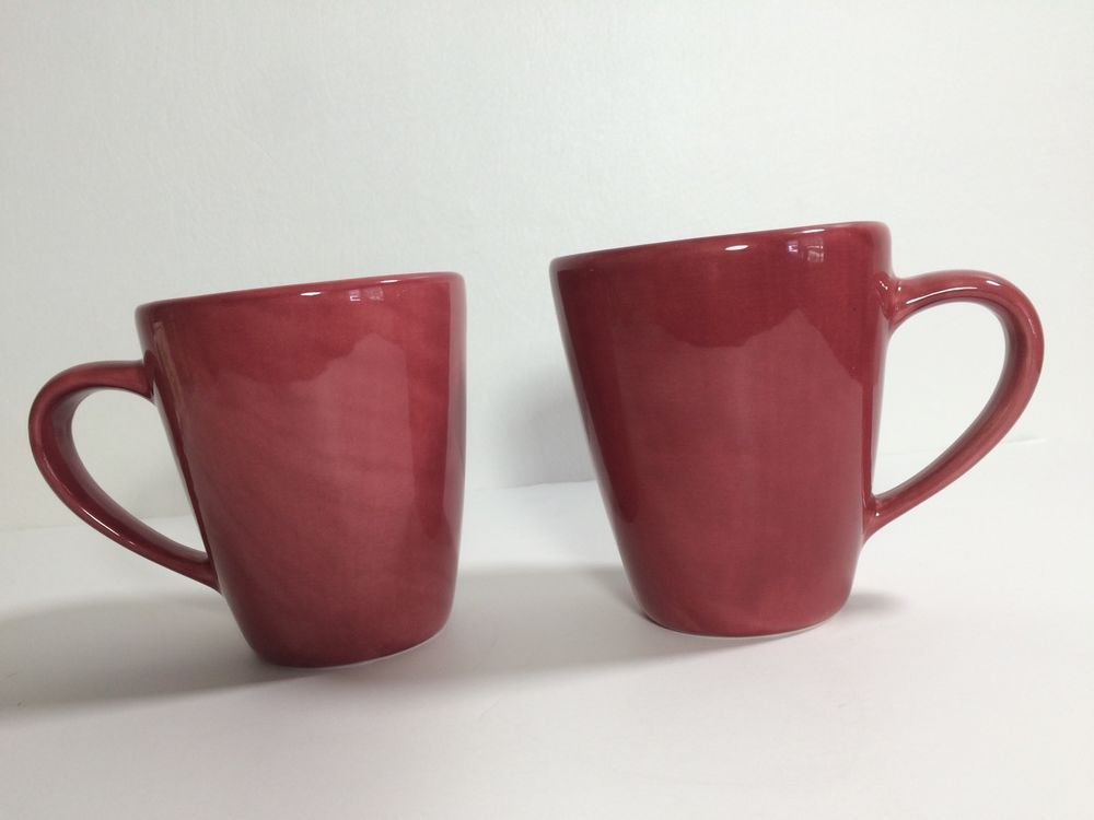 Pottery Barn -Sausalito- Merlot Red Coffee Mugs Set of 2 -16 oz. & Pottery Barn -Sausalito- Merlot Red Coffee Mugs Set of 2 -16 oz ...