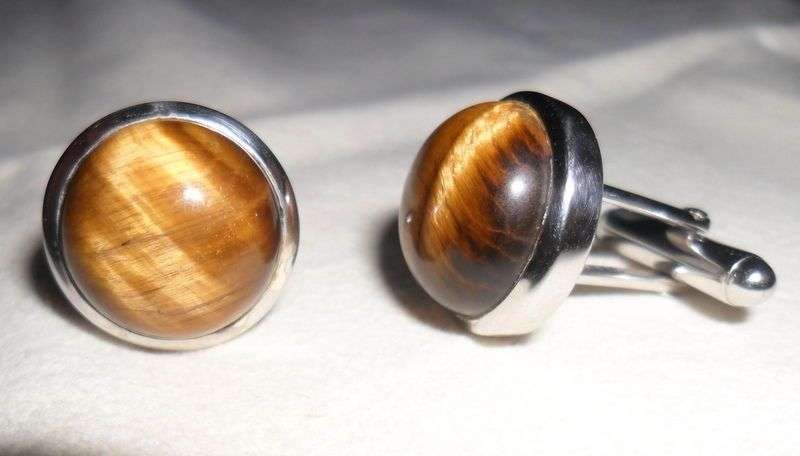 925 Sterling Silver Natural Tiger'sEye Gemstone Cufflinks New Men's Jewellery #SimSimSilver