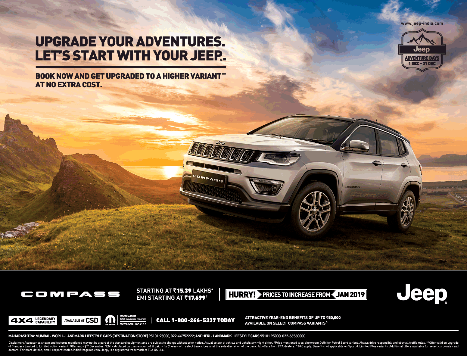 Jeep Car Compass Upgrade Your Adventures Ad In Times Of India