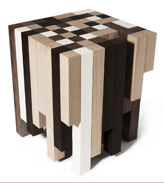 Designer Couchtisch aus Holz im Bauhaus Stil Wohnzimmer