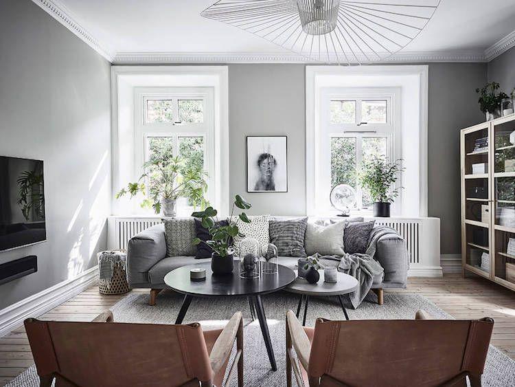 idee deco salon gris canap gris clair peinture gris clair style scandinave