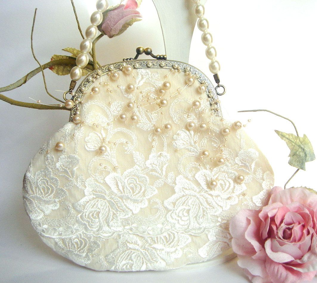 Bridal Clutch,Vintage Wedding Bag,Bridesmaids Clutch,Bridal  Pearls Bag,Lace Bag,Vintage Wedding lace Bag. $59.00, via Etsy.