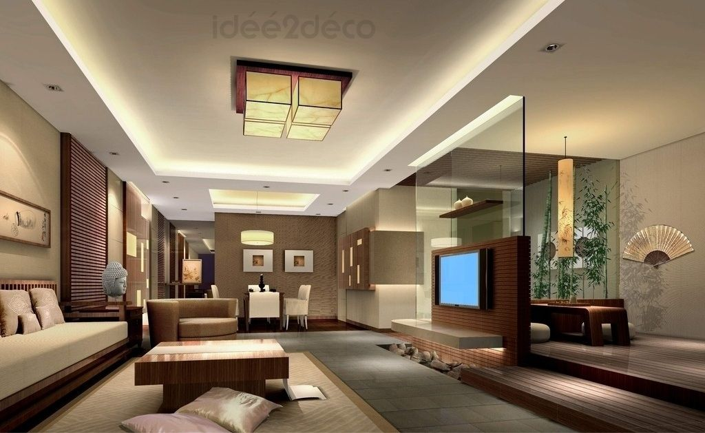 Une d co de salon moderne ambiance zen asiatique deco maison pinterest - Decoration salon moderne ...