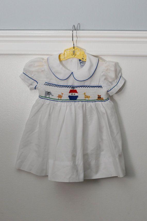 849e02b8a7dd 9 months  Vintage Noah s Ark Smocked Baby Dress with by Petitpoesy  www.etsy.com shop petitpoesy