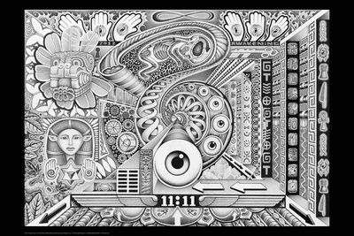 Resonance black and white psychedelic trippy poster by ...