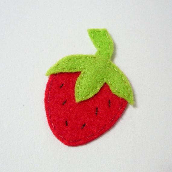 1pc - Red Strawberry Appliques - 65x44mm - made to order