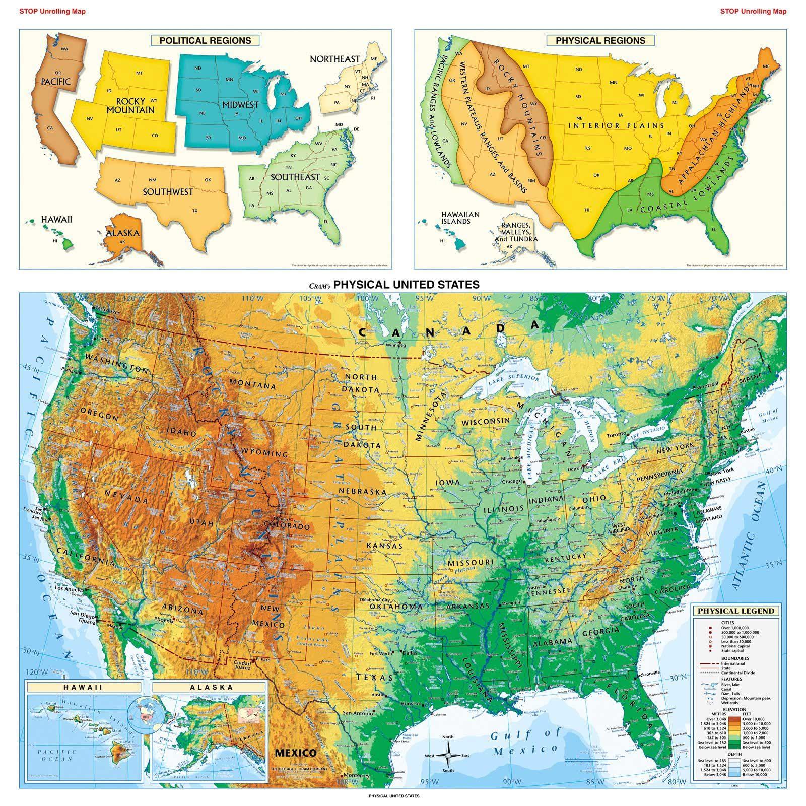 Physical Usa Map Mapsofnet Graphic Design Logos Pinterest - Physical us map