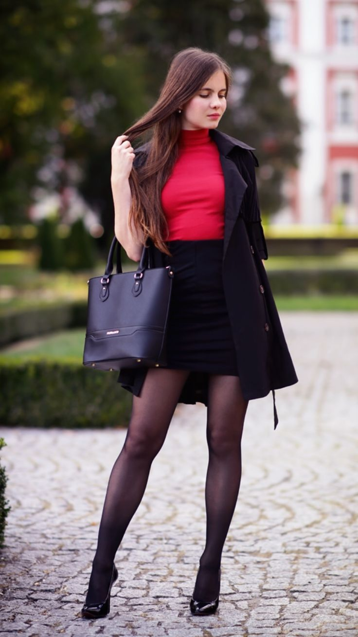 Black Trench Coat A Red Top With Golf Pencil Skirt And -4309