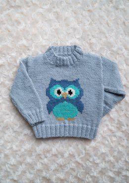 Intarsia Little Owl Chart Childrens Sweater