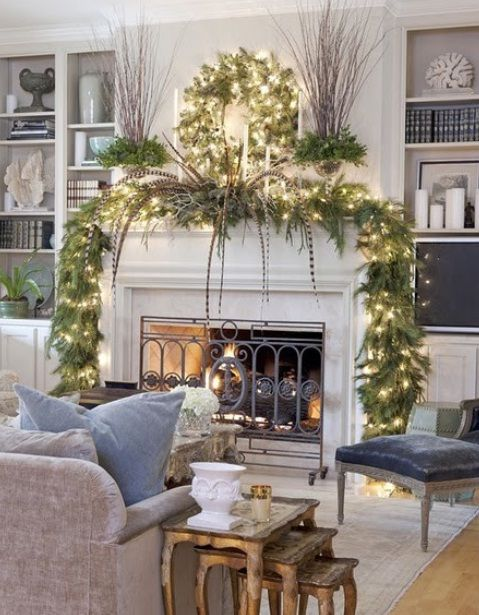 Nice White Modern Christmas Fireplaces Decoration Ideas 23 Mantel Christmas  Fireplaces Decoration Ideas
