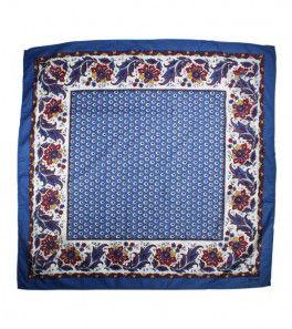 Foulard Coton «Le Maussanais» bleu 80x80 cm