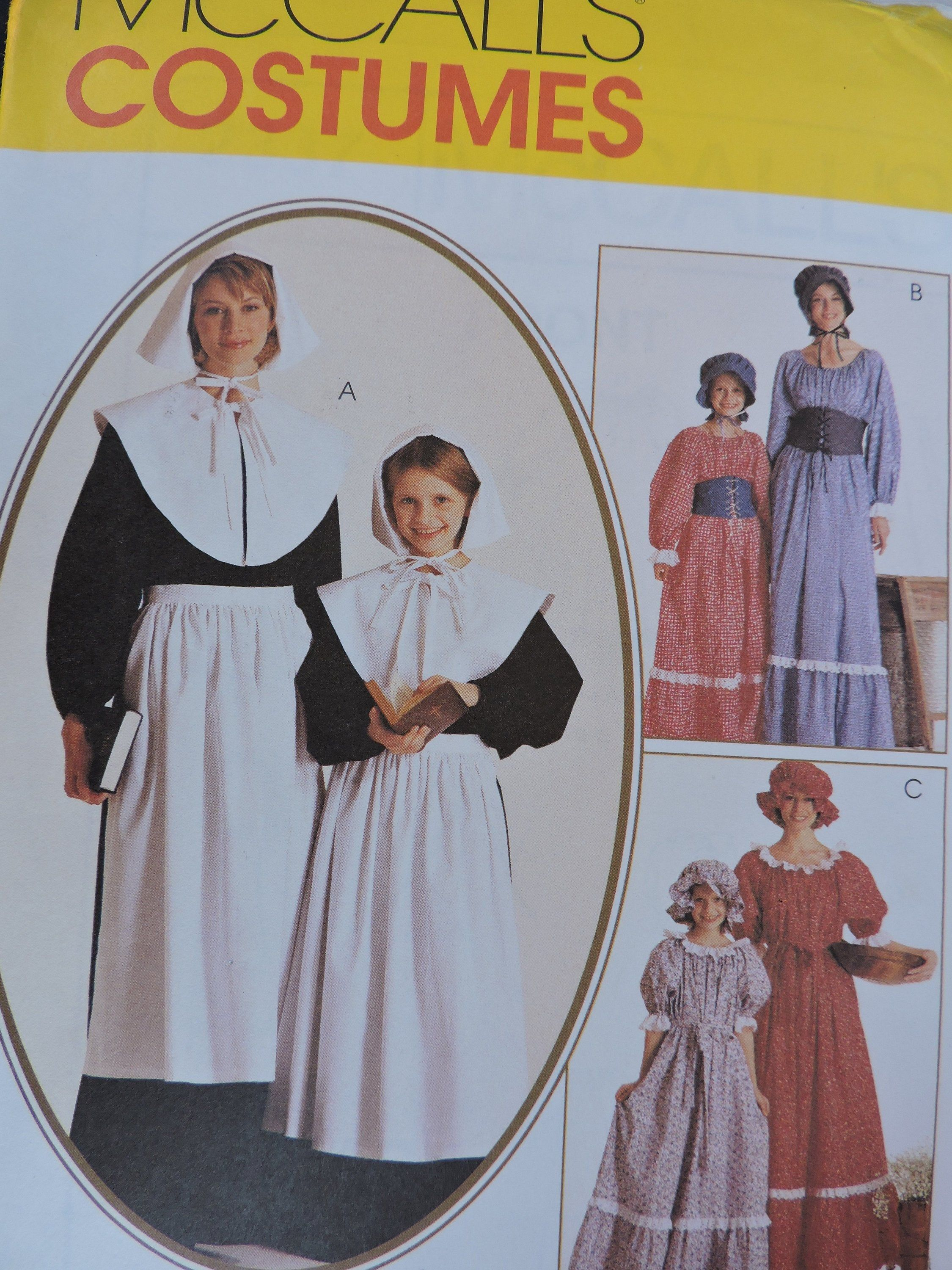 Colonial Puritan Prairie Dress Historic McCall's 2337 Halloween Stage Play Sewing Pattern Sz. 10 - 12