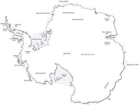 Antarctica Black White Map With Major Cities Antarctica Black