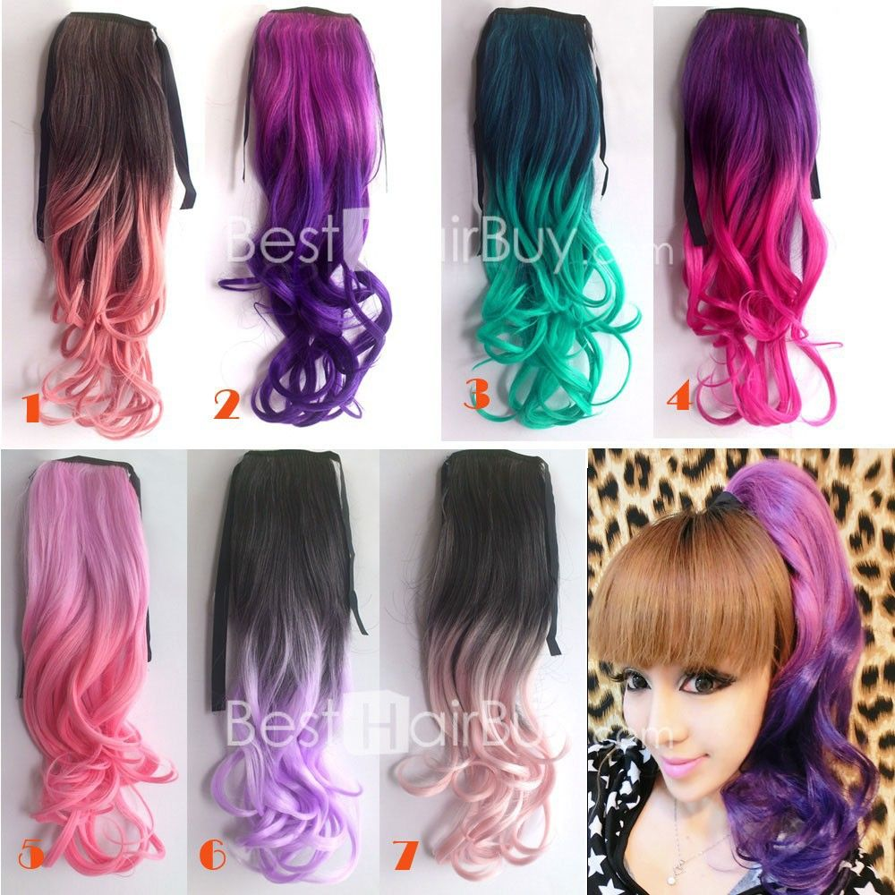 ombre colorful ponytail