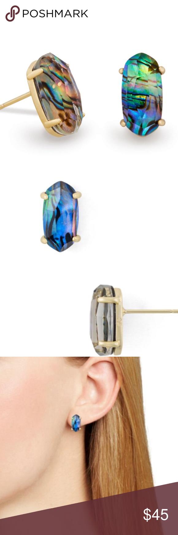 Kendra Scott Betty Stud Earrings in Abalone Shell w Dust Bag