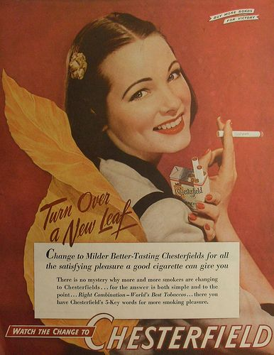 1944 CHESTERFIELD cigarettes 1940s glamour woman model smoking vintage advertisement