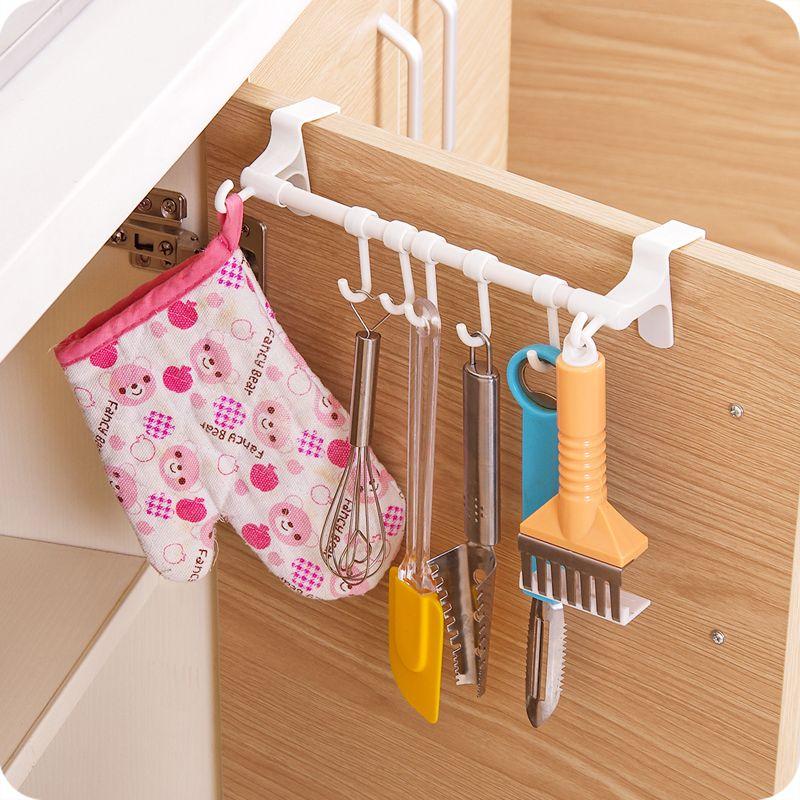Multifunctional Plastic Towel Bar Holder Over The Kitchen Cabinet Cupboard Door With 7 Hook Hanging Rack Kitchen Hanging Racks Cabinet Cupboard Cupboard Doors