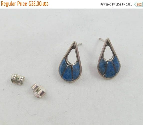 "MoThErs dAy SaLe Zuni Sterling Silver Blue Stone Earrings signed ""SEC"" Post Backs by Framarines on Etsy"