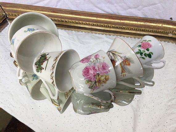 Mismatched Cups, Vintage espresso cups, mixmatch china teaset, tea party cups, six mismatched teacups, bridal shower gift, vintage teaparty