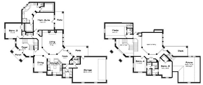 654080 a great corner lot plan with unique split stairs house plans