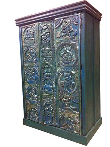 Vintage Indian Cabinet Reclaimed Antique Jodhpur Teal Patina Storage  Armoire Kamasutra Carving Indian Furniture Mogul Interior