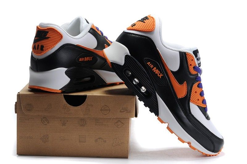bas prix e67a5 74604 Vente pas cher Nike Air Max 90 Blanche/Pourpre/Orange/Noir ...