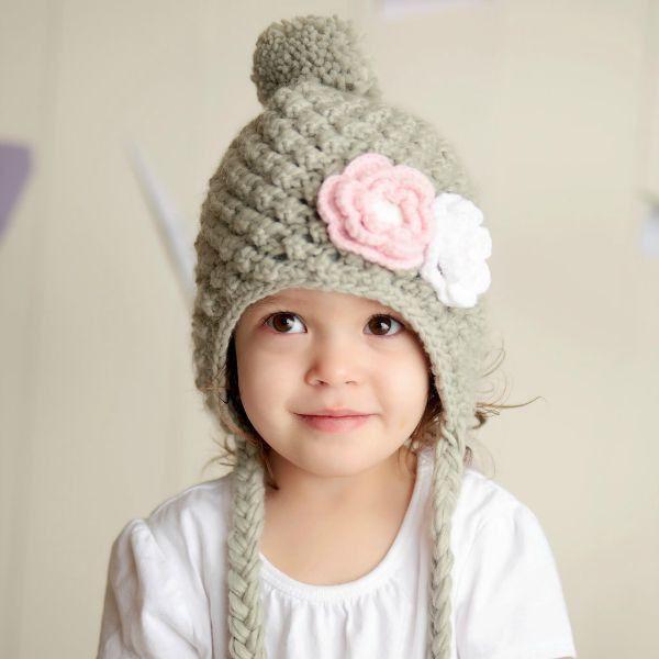 Earflap Lil Snowbunny Lined Hat Grey | Ines Stricklädchen ...