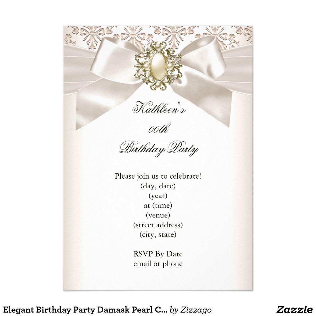 Elegant Birthday Party Damask Pearl Cream 3 Invitation | Elegant ...