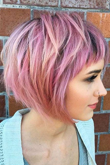 Pinke Haare, Bob Short Layered Pink #layeredhair