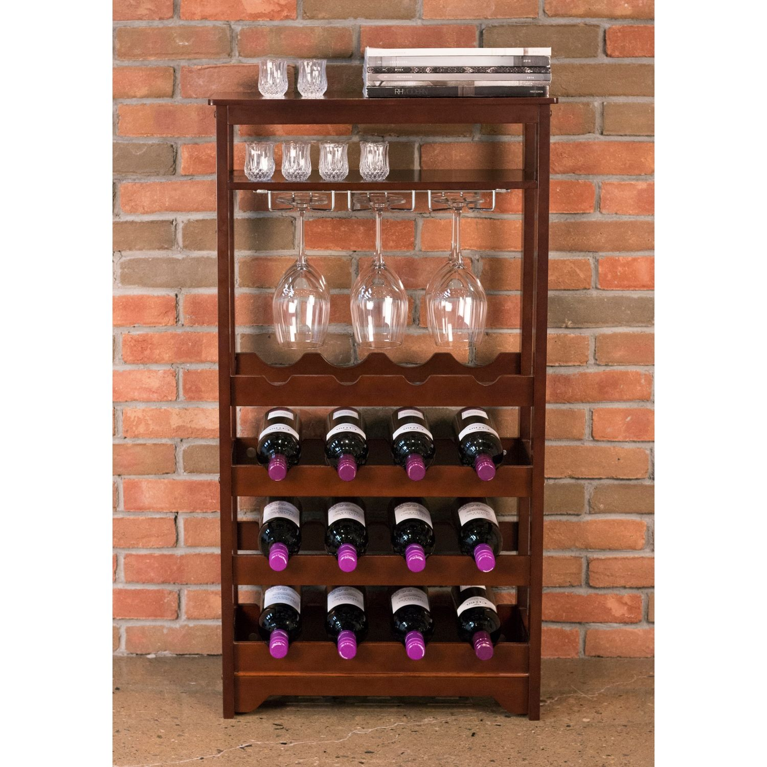 16 Bottle Espresso Brown Wine Rack
