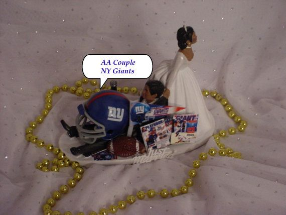 african american football wedding cake toppers american ny giants football fan sports aa 10595
