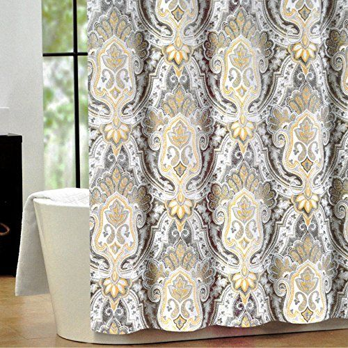 Tahari Luxury Cotton Blend Shower Curtain Yellow Gray Paisley On White Izmir Home