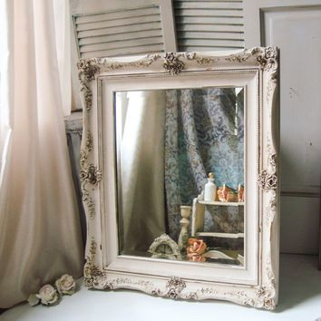 White Distressed Mirror Large Ornate Antique Shabby Chic Big Bathroom
