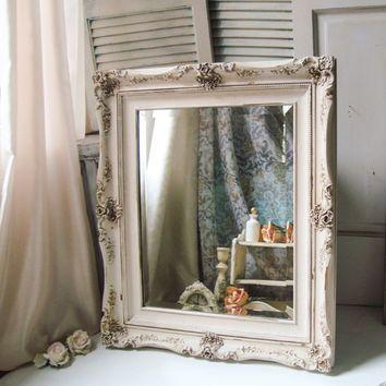 White Distressed Mirror Large Ornate Antique White Mirror Shabby Chic Big Mirror Bathroom Vintage Bathroom Mirrors Farmhouse Bathroom Mirrors Mirror Designs