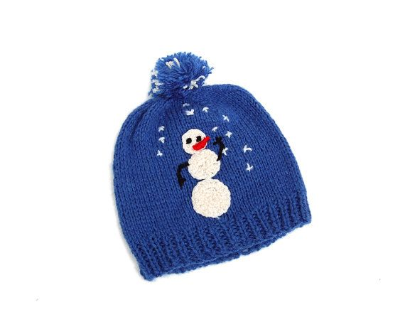 Knit blue hat for kids with snowman Christmas hollydays by kwitka, $21.00
