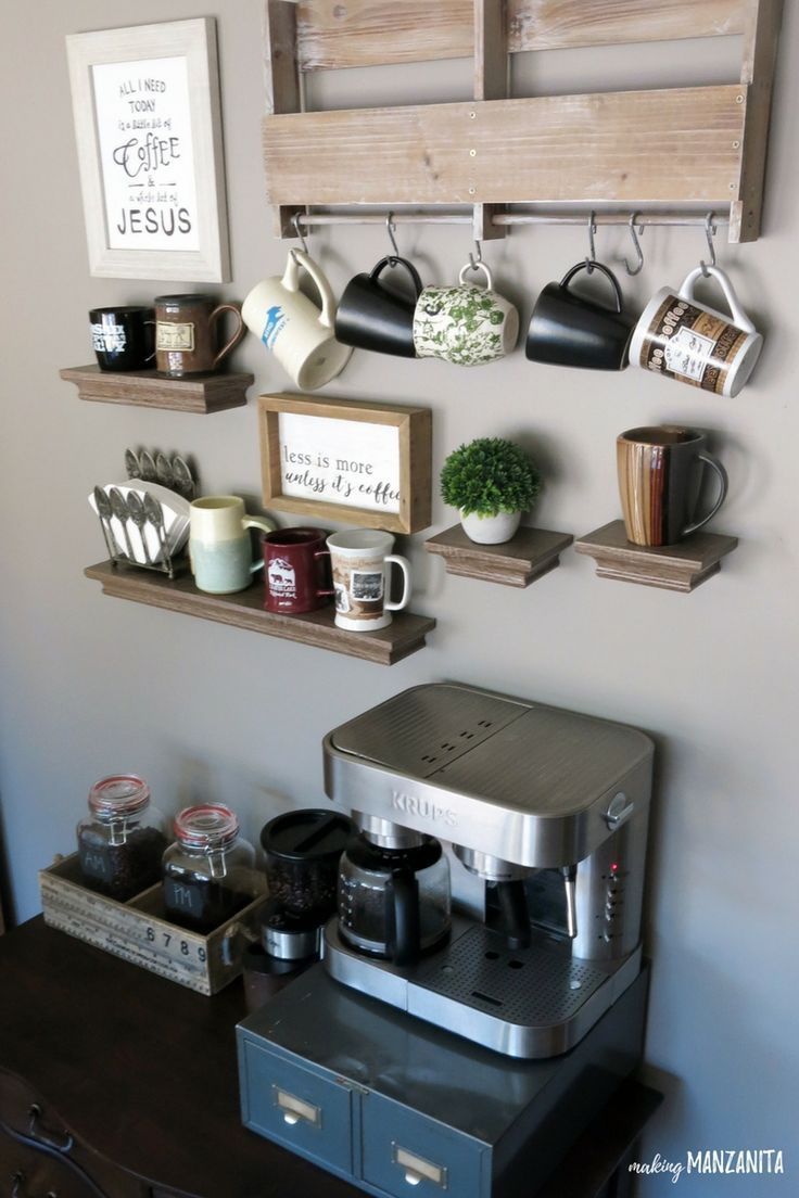 How to create a diy coffee station at home coffee area for Home bar station