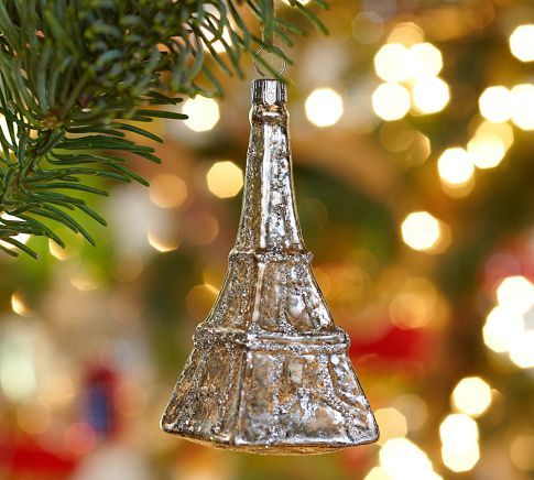 Glass Eiffel Tower Ornament Pottery Barn { christmas ornaments