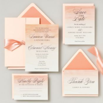 paper source stationery stores wedding invitations envelopes coral ombre - Paper Source Wedding Invitations
