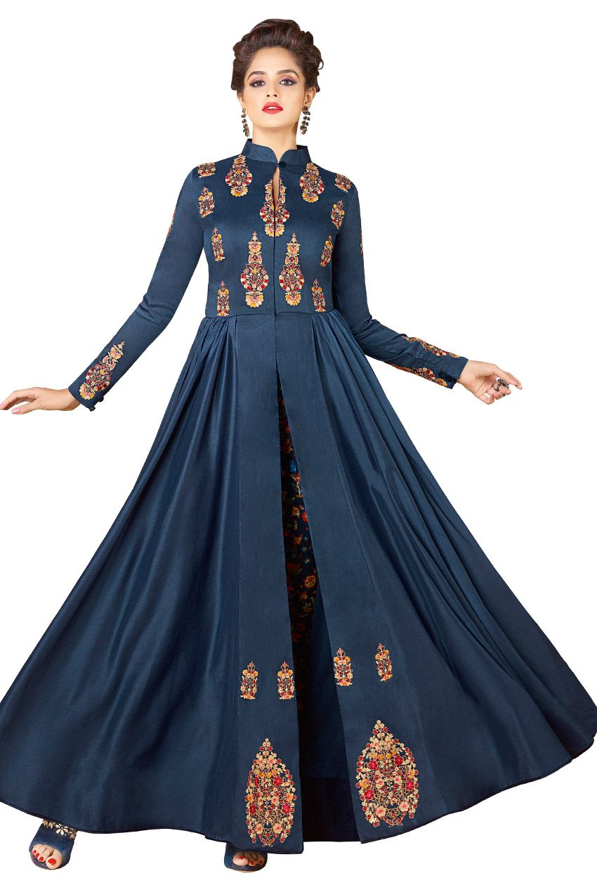 230f034a766 Readymade Cotton Party Wear Gown In Dark Blue | Collar Neck Salwar ...