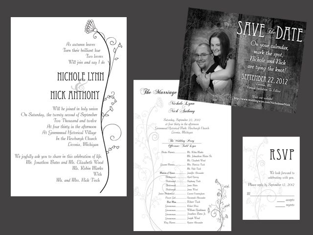 Country themed Invite and save the date.