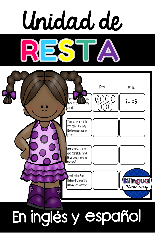 Unidad De Resta En Ingles Y Espanol Bilingual Dual Language Classroom Subtraction [ 1440 x 960 Pixel ]