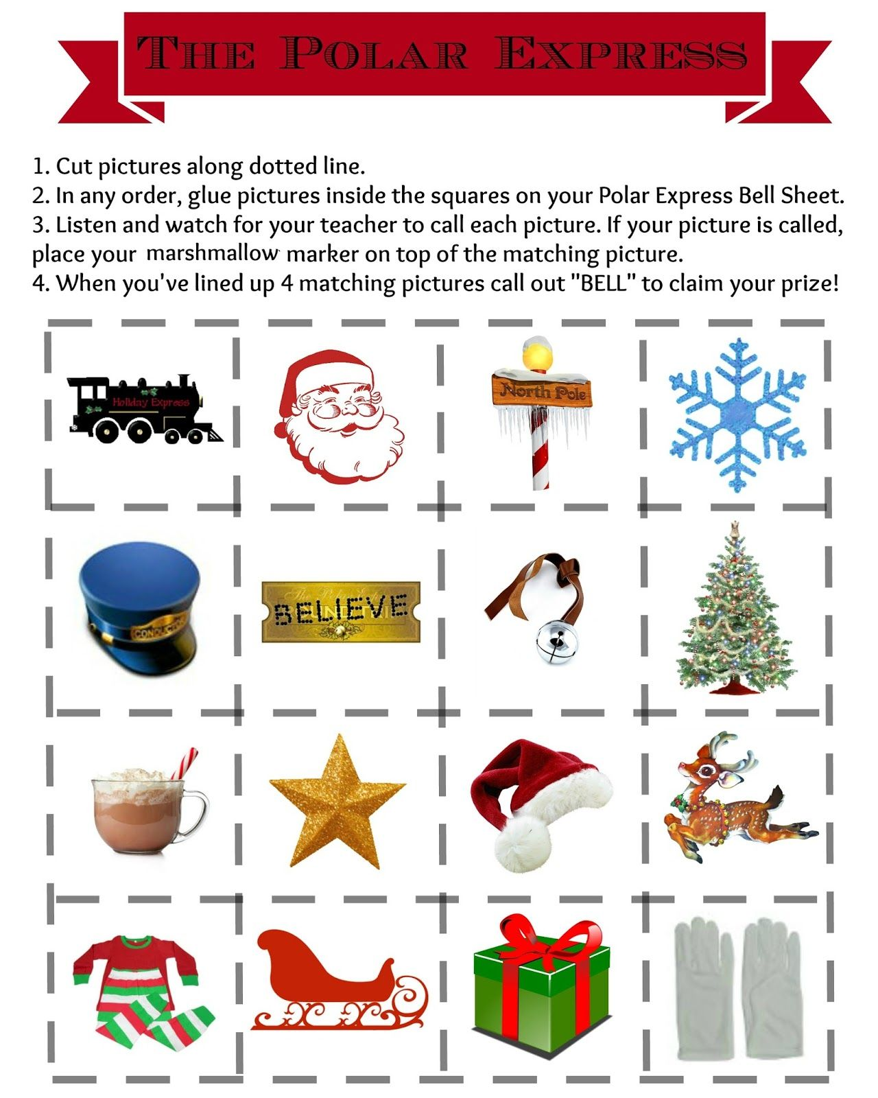 The Polar Express Bell Bingo FREE Printables for your next class