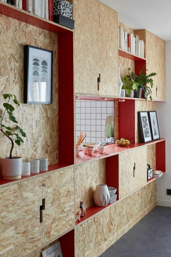 De l\'OSB peint pour séparer salon et cuisine Très tendance ...