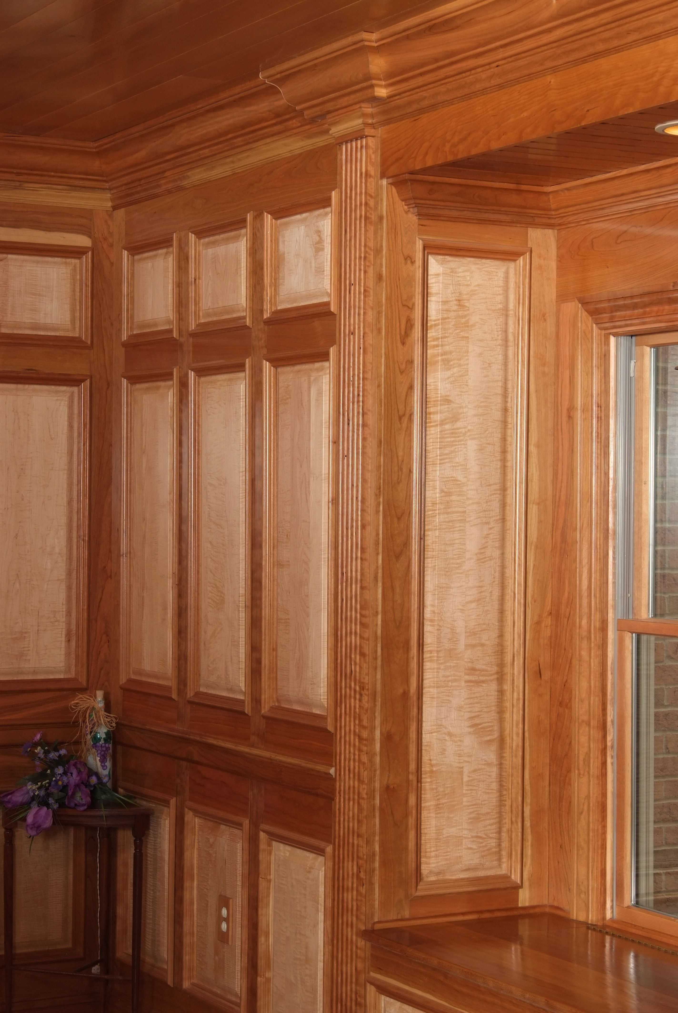 Custom wall system with American Cherry rail and stiles ...