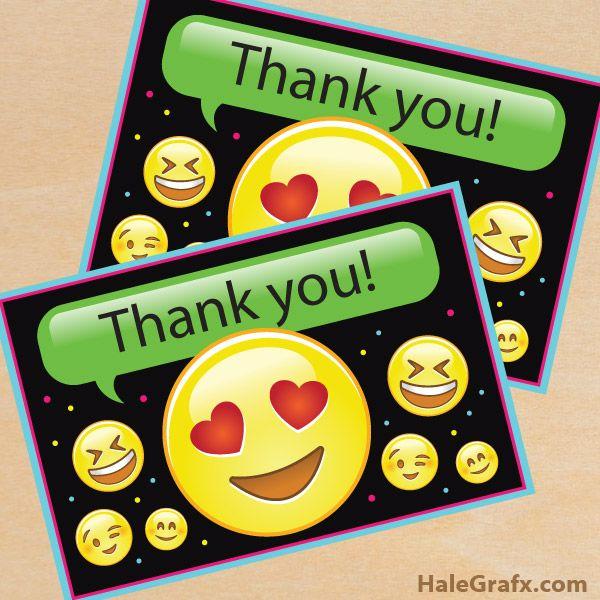 Free Printable Emoji Thank You Card Emoji Party Emoji Party Decorations Emoji Party Supplies