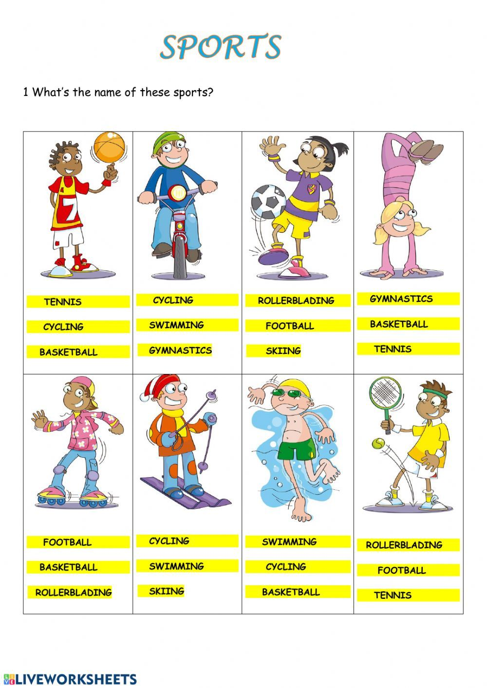 Sports Interactive And Downloadable Worksheet You Can Do Th English Activities For Kids English Worksheets For Kindergarten English As A Second Language Esl