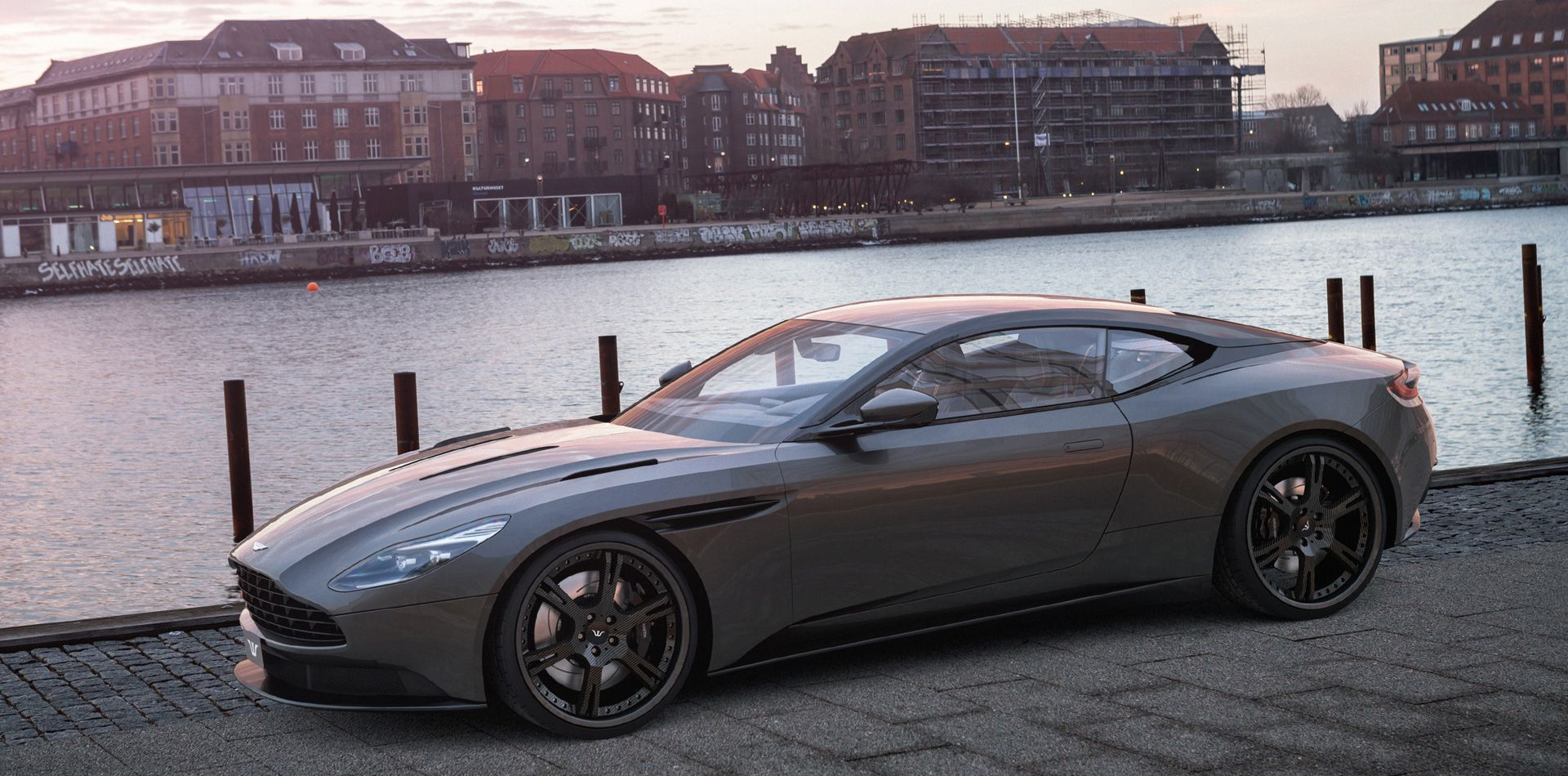 Aston Martin Db11 With Customized 6sporz Wheels Centers With Carbonlook And Outside Rims Matching Car S Color Aston Martin Db11 Aston Martin Aston