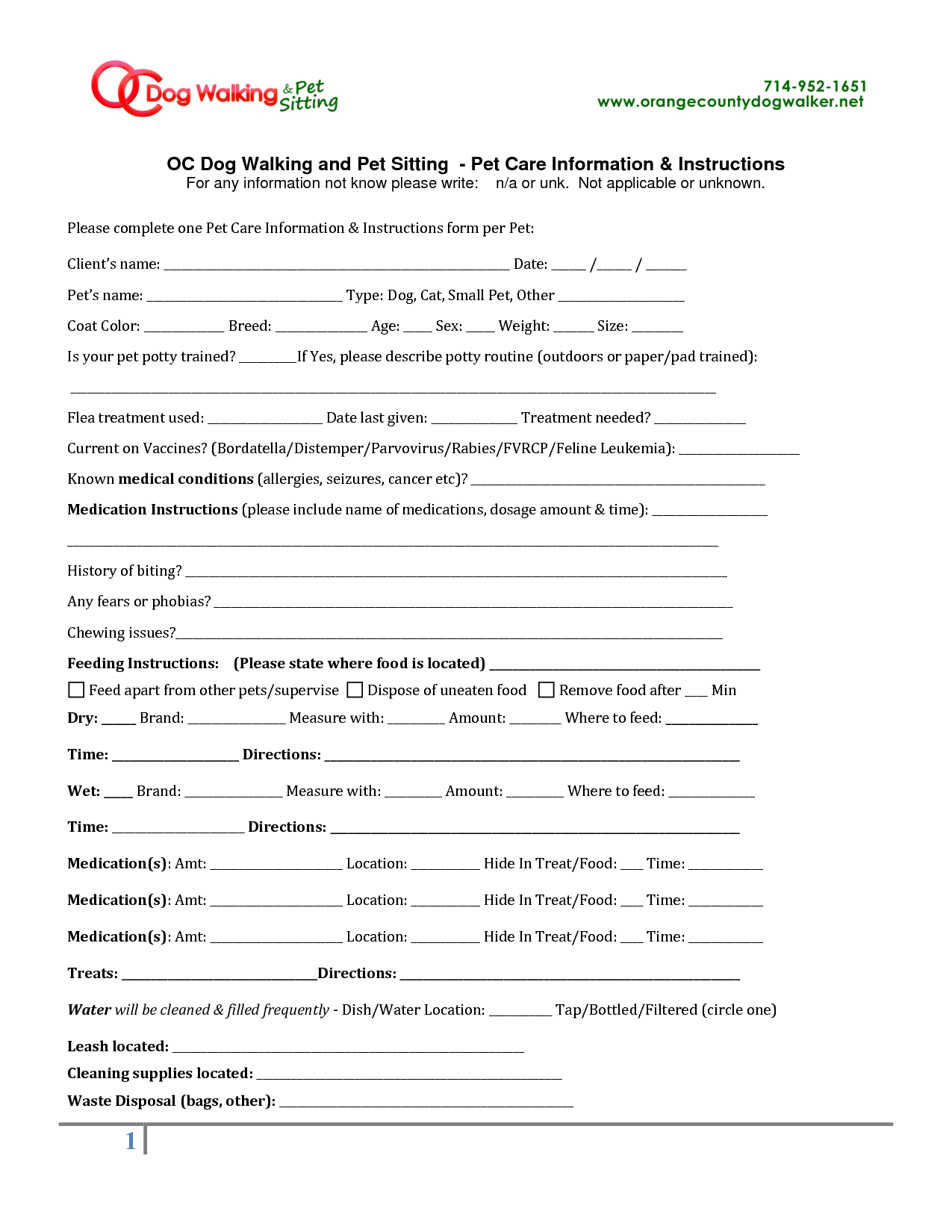 veterinary forms templates - pet sitting instruction template free oc dog walking and