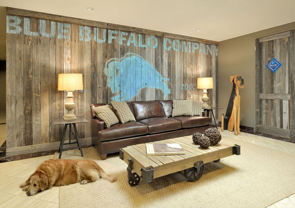 Basements By Design Design barn wood wall beth rosenfield design - contemporary - basement